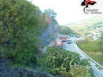 Incendio davagna con logo carabinieri