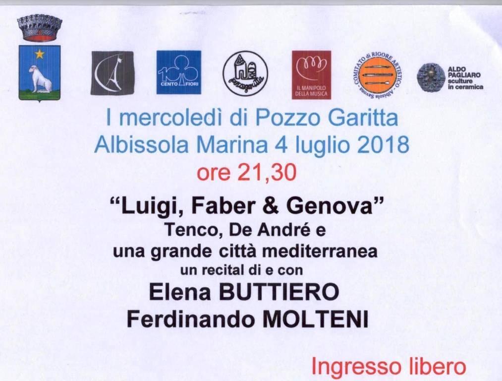 """""""Luigi, Faber & Genova"""" Mercoledì di Pozzo Garitta"""