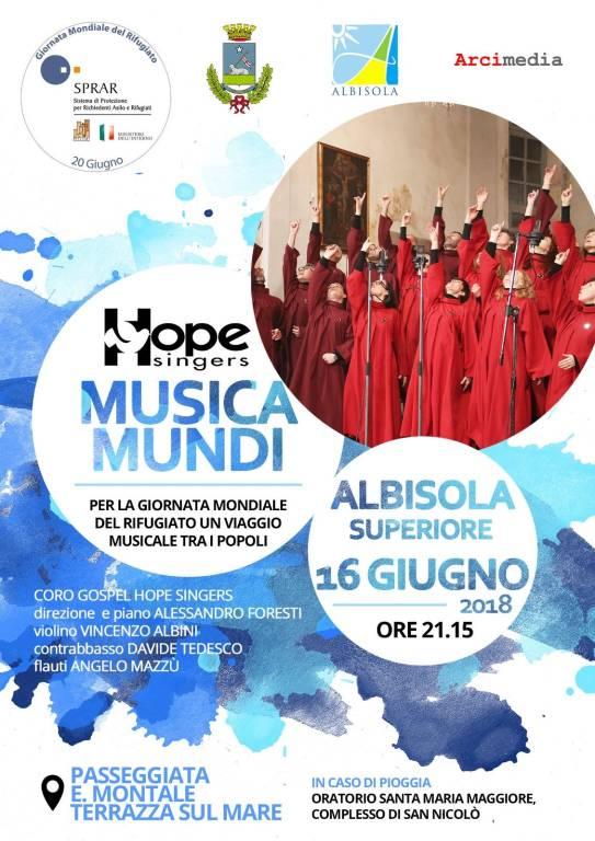 """Musica mundi"" concerto coro Hope Singers Albisola Superiore"