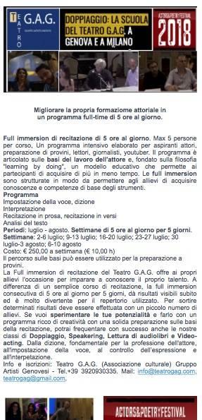 Full immersion di recitazione a Genova