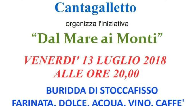 Stasera alla SMS Circolo ARCI Cantagalletto: dal mare ai monti