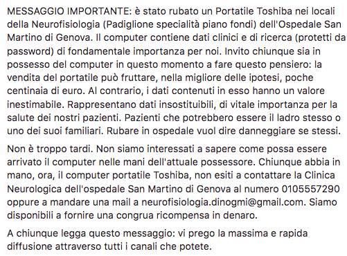 catena facebook furto pc san martino