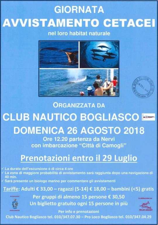 Giornata di Avvistamento Cetacei Bogliasco agosto 2018