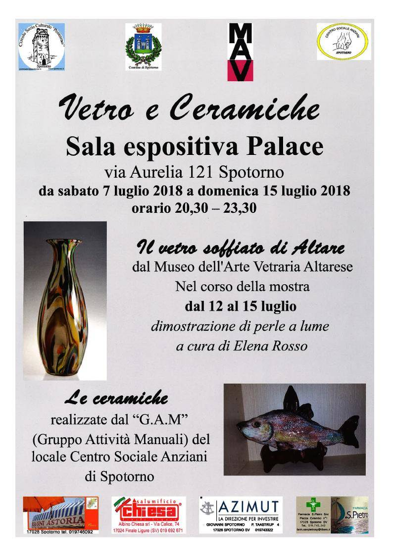 """Mostra d'arte """"Vetro e Ceramiche"""" Spotorno"""