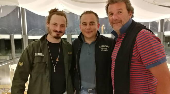 Omar Camporese,Walter Klinkon ed il sindaco di Calizzano,avv.Pierangelo Olivieri