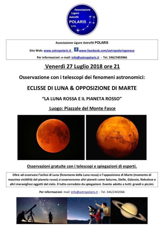 Osservazioni astronomiche eclisse Luna e opposizione Marte