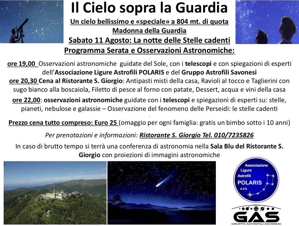 Osservazioni astronomiche stelle cadenti Madonna Guardia