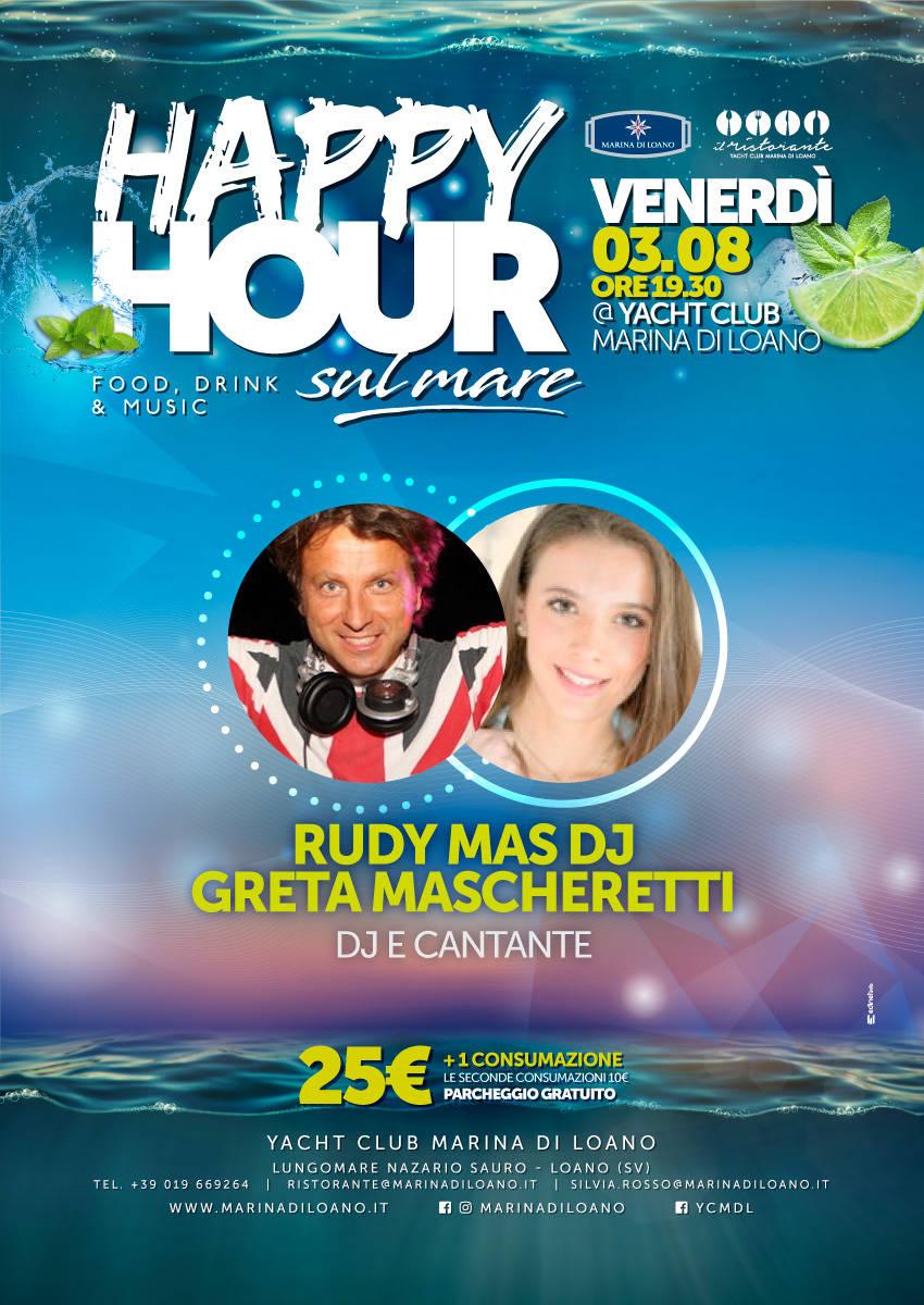 Rudy Mas Dj e Greta Mascheretti Happy Hour sul Mare