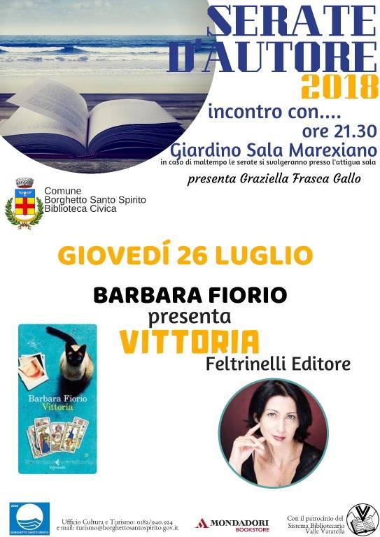 """""""Serate d'Autore"""" Barbara Fiorio libro """"Vittoria"""""""
