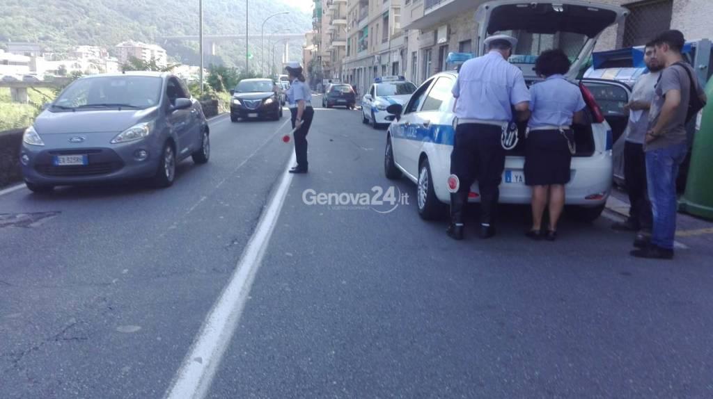 vigili urbani incidente via Piacenza