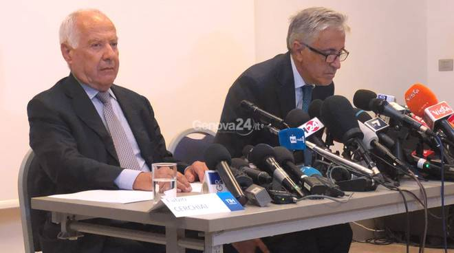 conferenza stampa Autostrade dopo crollo ponte Morandi