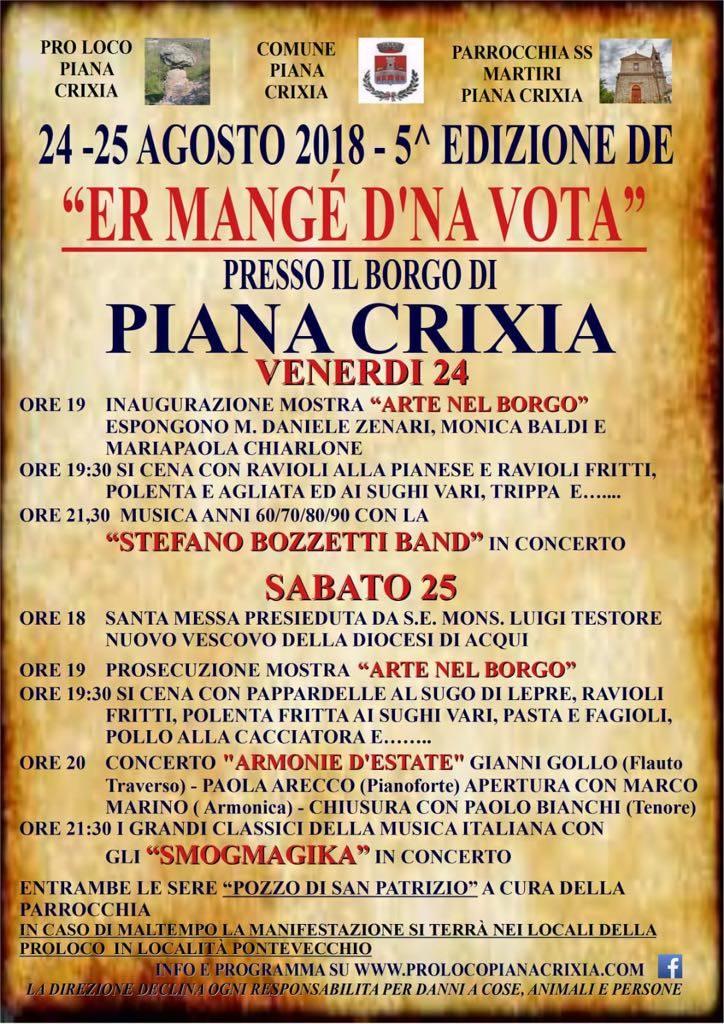 """""""Er mangé d'na vota"""" sagra Piana Crixia 2018"""