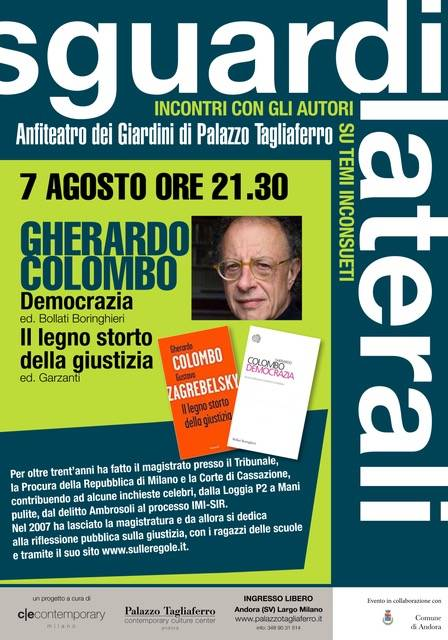 """Gherardo Colombo rassegna """"Sguardi Laterali"""" Andora 2018"""