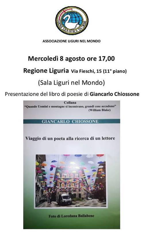 Libro poesie Giancarlo Chiossone Genova