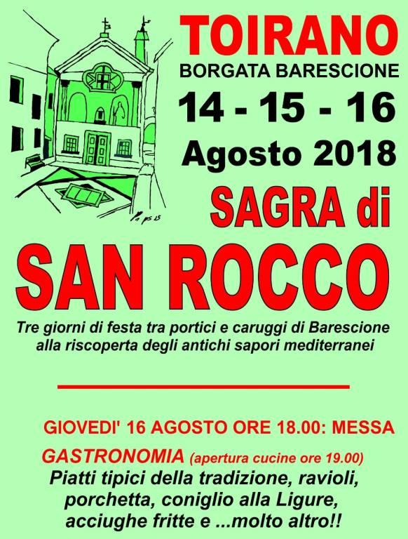 Sagra San Rocco Barescione Toirano 2018