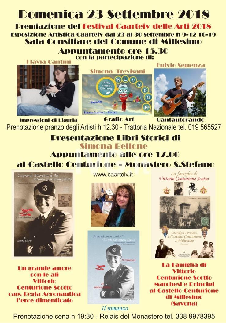 Millesimo Domenica 23 settembre Premiazione Festival in Comune - Libri Centurione al Castello Monastero