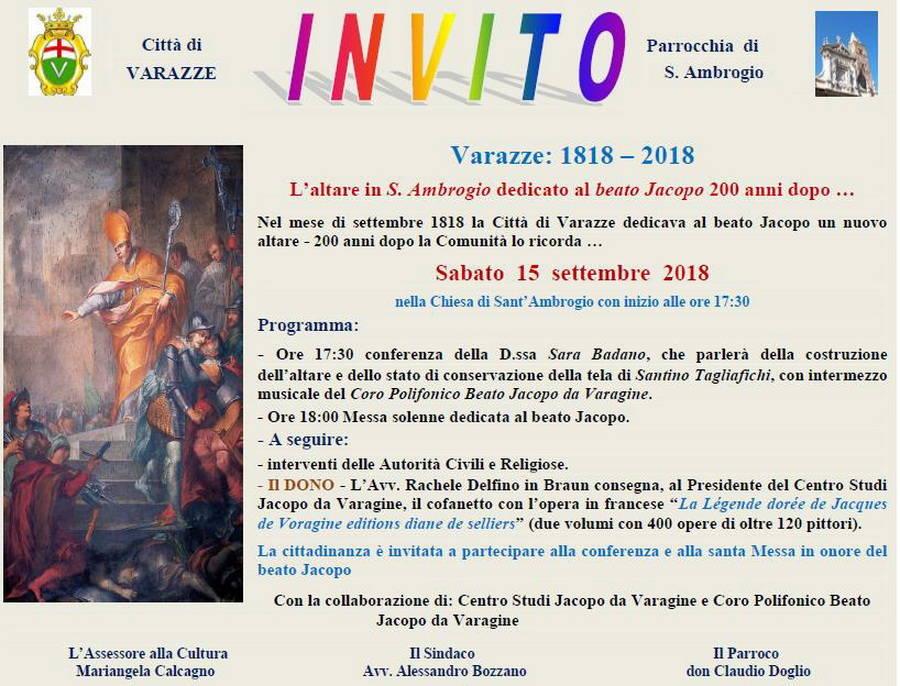 Celebrazioni 200 anni altare beato Jacopo Varagine