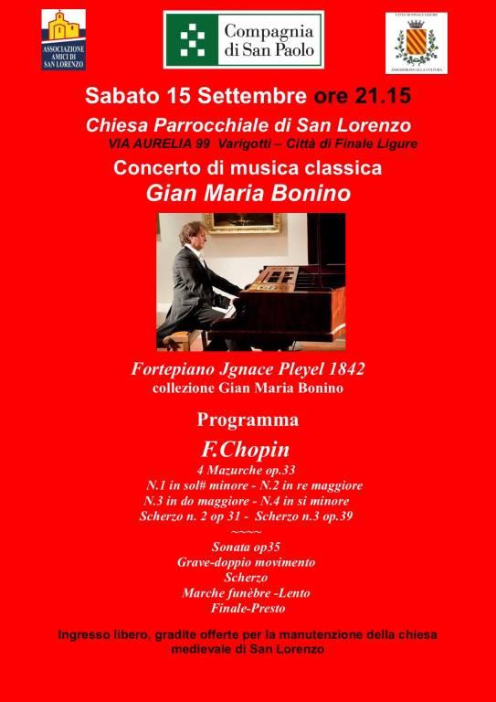 Concerto pianista Gian Maria Bonino Rassegna Musicale di San Lorenzo