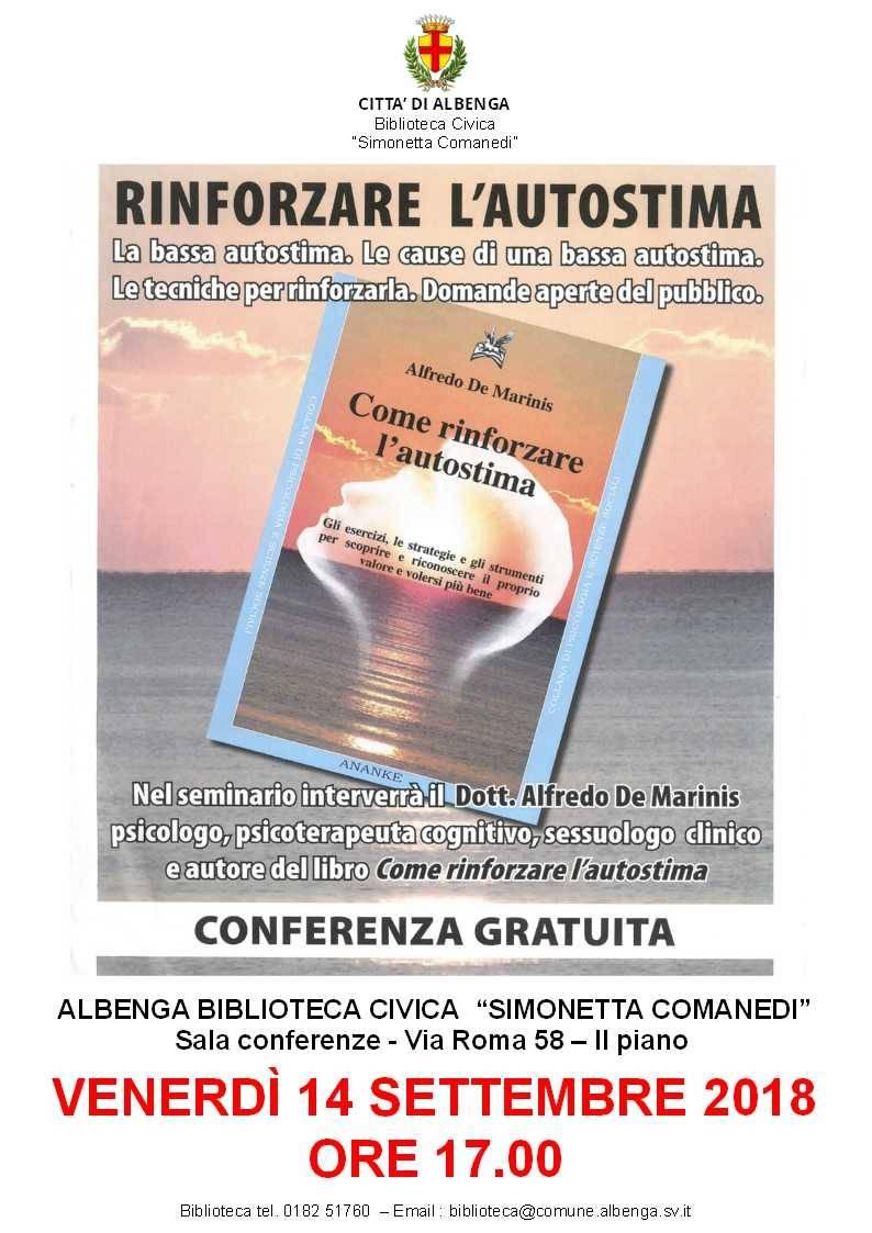 """Conferenza """"Rinforzare l'autostima"""" Albenga"""