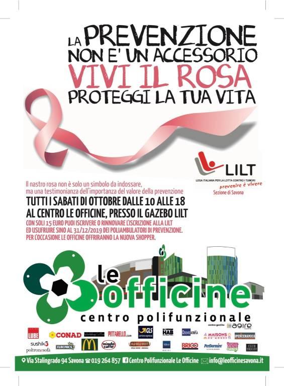 Campagna Nastro Rosa LILT 2018 Le Officine Savona
