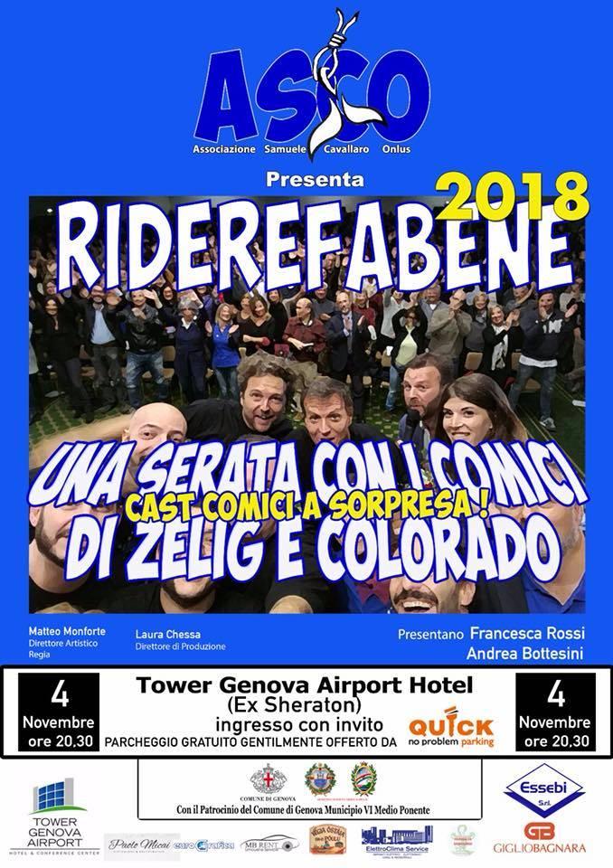 Riderefabene 2018, al via domenica 4 novembre lo spettacolo comico per ricordare Samuele Cavallaro
