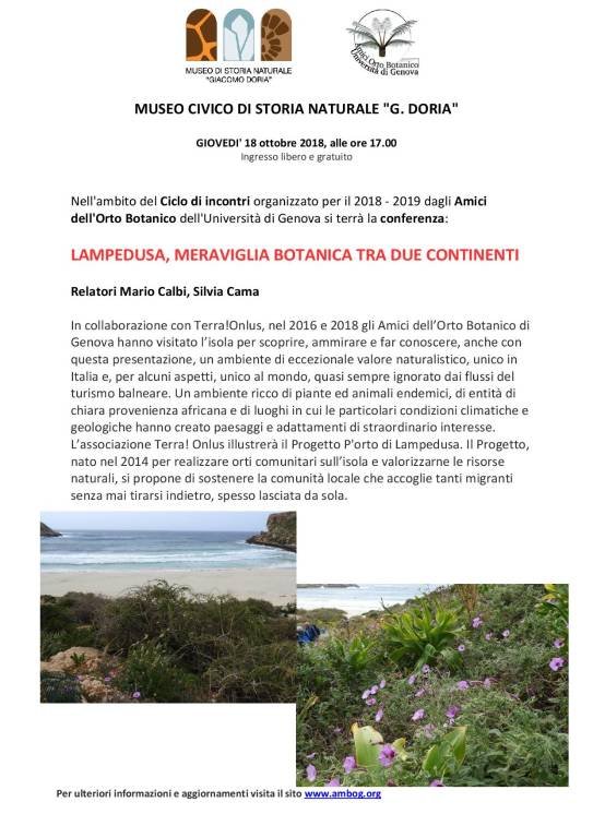 """Conferenza """"Lampedusa, meraviglia botanica tra due continenti"""""""