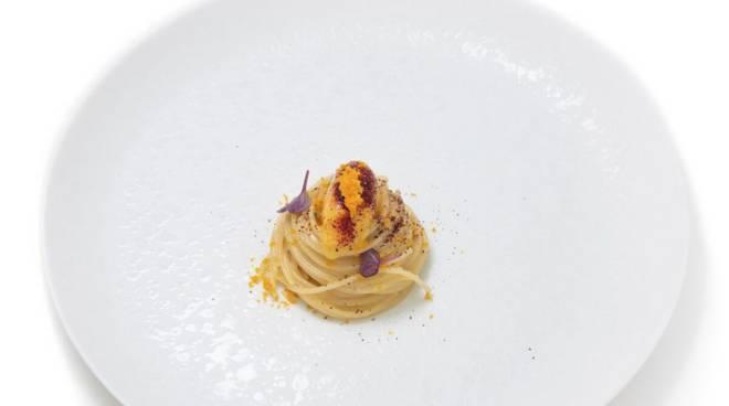 gelato marco visciola, spaghettino bottarga, kumquat e karkadé