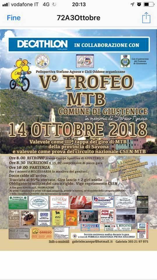 """Memorial MTB Stefano Agnese"" 2018 Giustenice"
