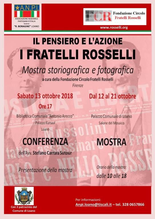 """Mostra """"Il pensiero e l'azione - I fratelli Rosselli"""" Loano"""