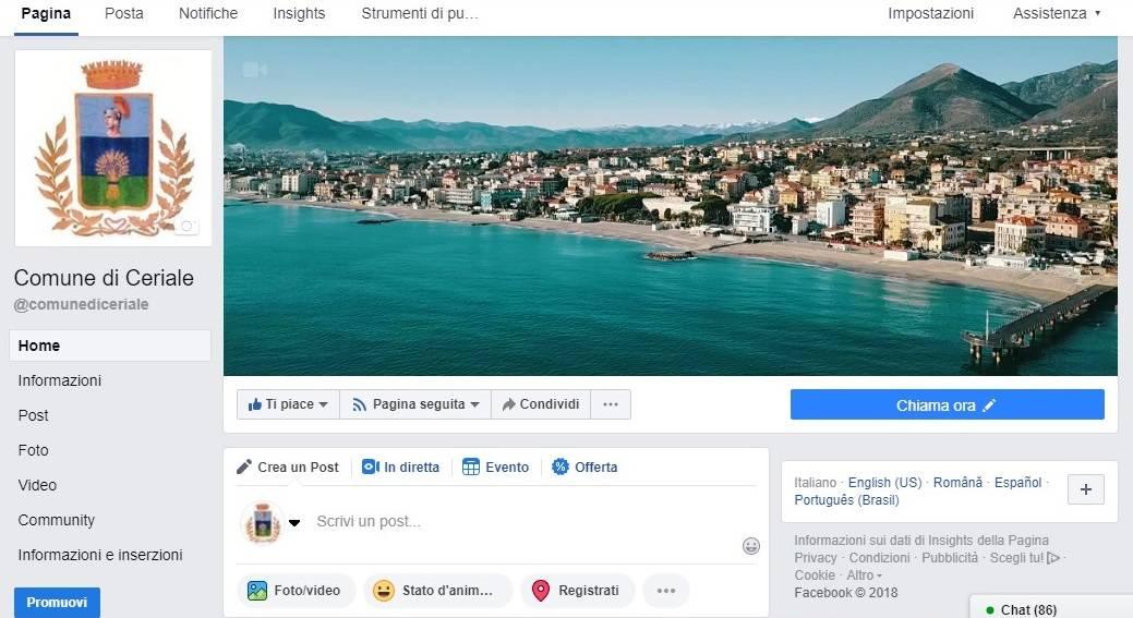 Nuova pagina Facebook Comune Ceriale