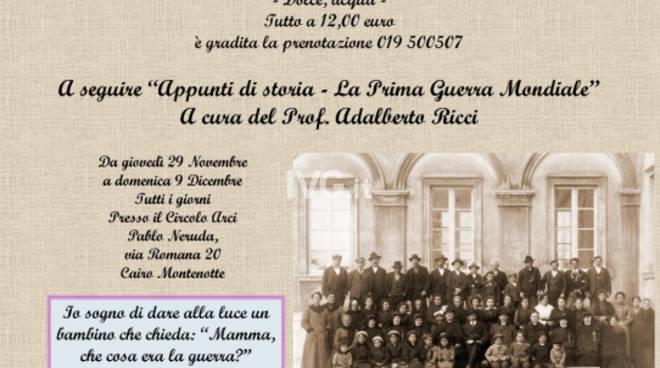 Questa sera al Circolo ARCI Pablo Neruda di Cairo Montenotte cena ed incontro sulla Prima Guerra Mondiale