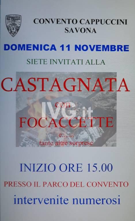 CASTAGNATA e FOCACCETTE  nel parco del Convento Cappuccini di Savona
