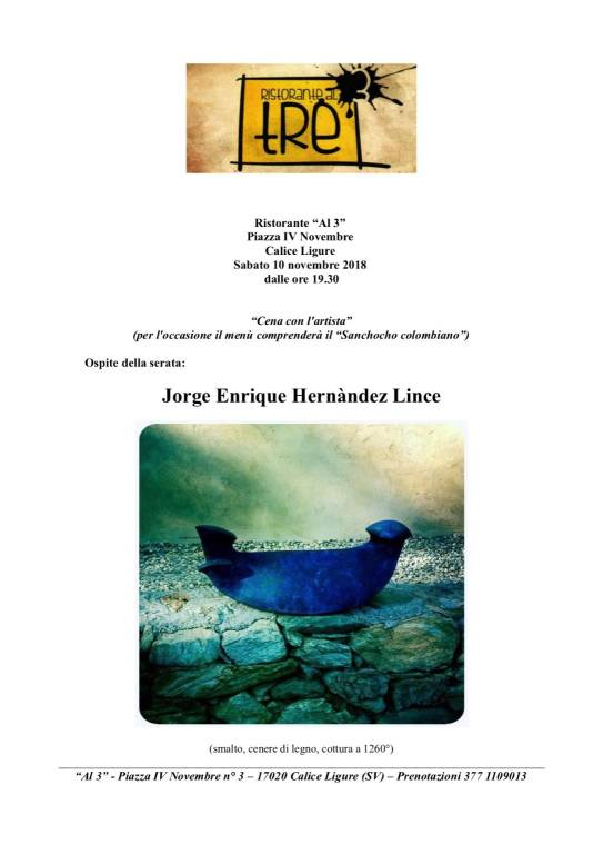 """""""Cena con l'artista"""" Jorge Enrique Hernàndez Lince"""