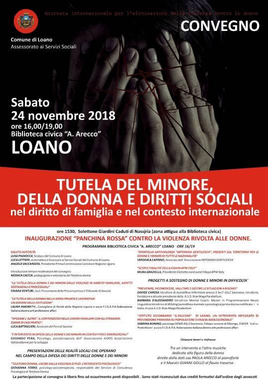 Convegno e Panchina Rossa violenza donne Loano 2018