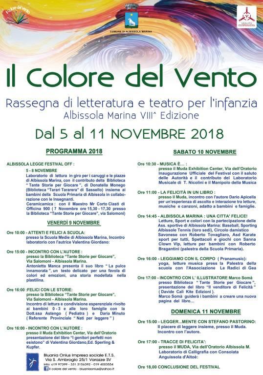 """""""Il Colore del Vento"""" festival letteratura e teatro infanzia 2018"""