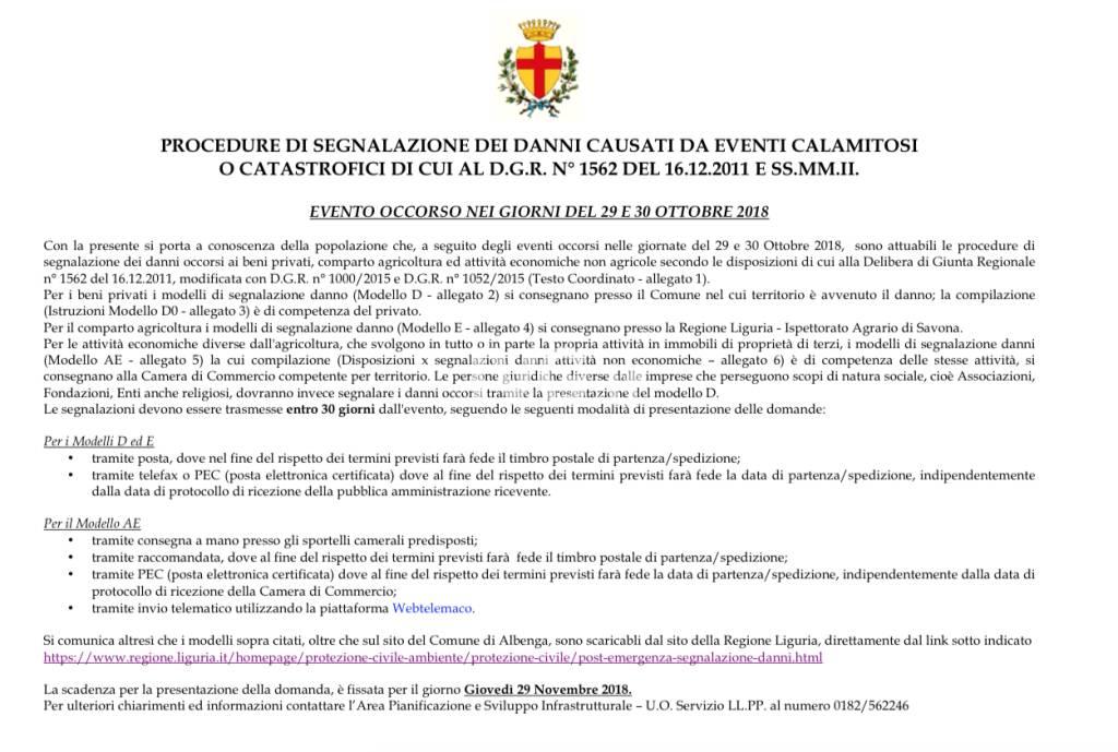 Modulo segnalazione danni calamitosi Albenga