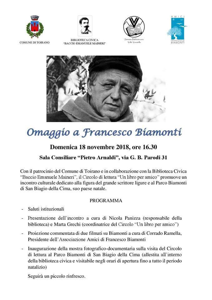 """""""Omaggio a Francesco Biamonti"""" incontro culturale Toirano"""