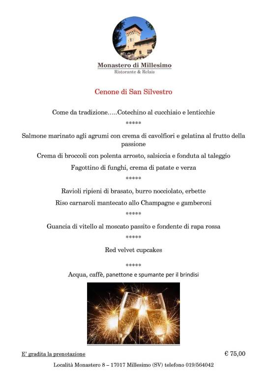Cenone di San Silvestro 2018 Monastero Millesimo