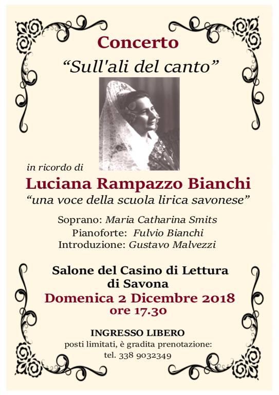 """Concerto """"Sull'ali del canto"""" Luciana Rampazzo Bianchi Savona"""