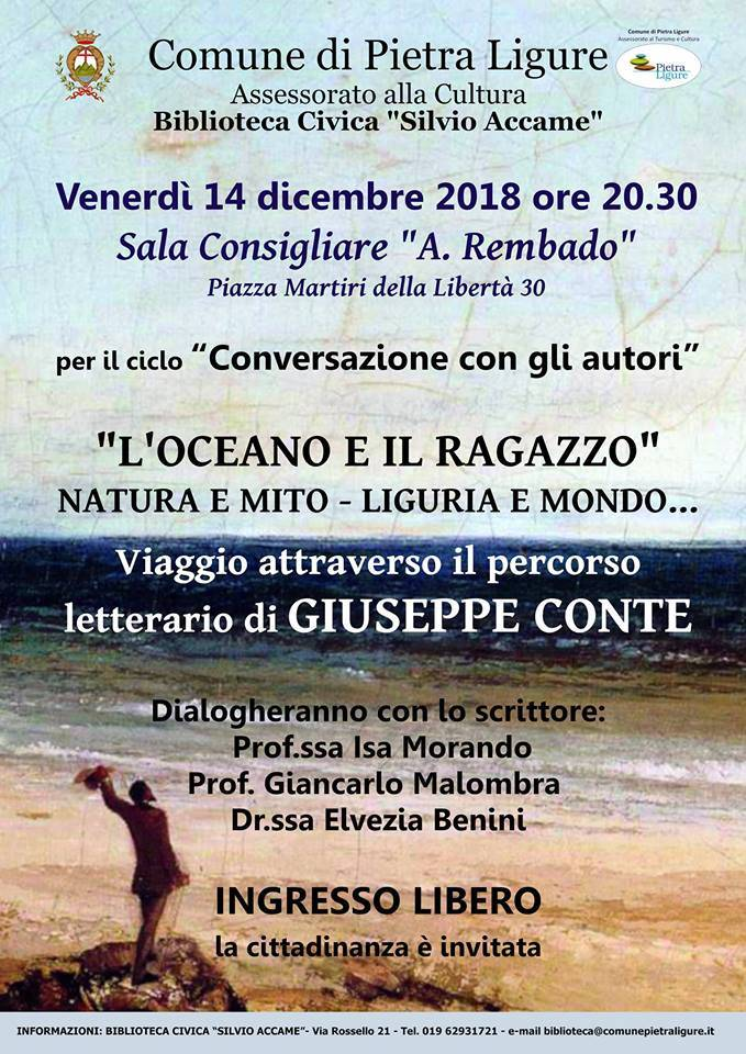 Incontro scrittore Giuseppe Conte Pietra Ligure