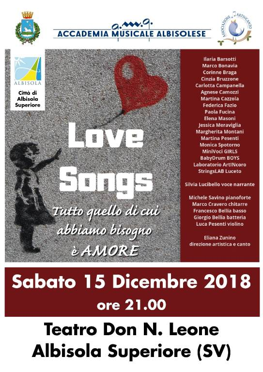 """Love Songs"" concerto canzoni d'amore Albisola Superiore"