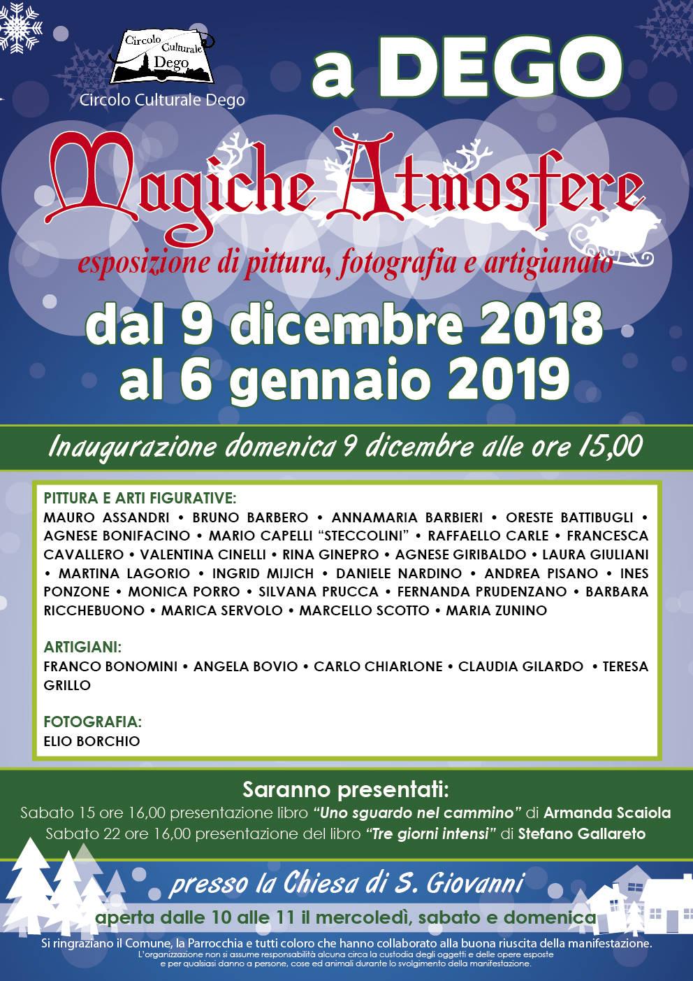 """""""Magiche Atmosfere"""" mostra artistica natalizia Dego"""