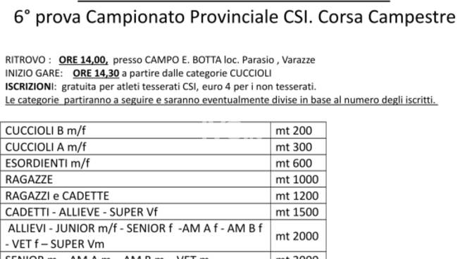 XXIICampionato Nazionale campestre - 6^ prova campestre CSI  fase interregionale Varazze