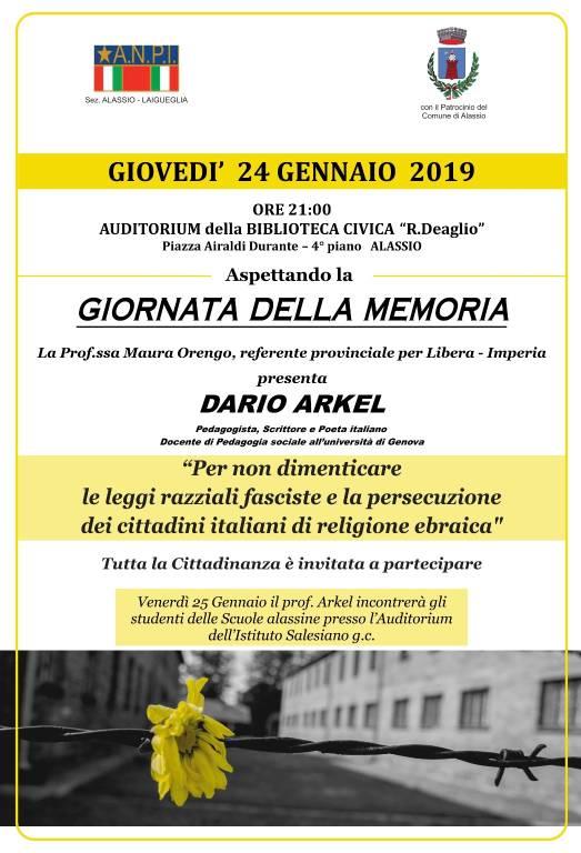 Giornata della Memoria 2019 incontro ANPI Alassio