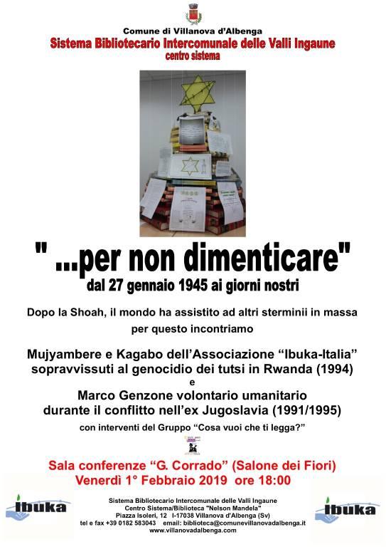 Giorno della Memoria 2019 incontro Villanova D'Albenga