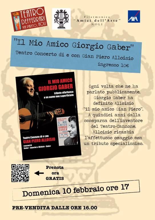 """""""Il mio amico Giorgio Gaber"""" teatro canzone Gian Piero Alloisio Noli"""