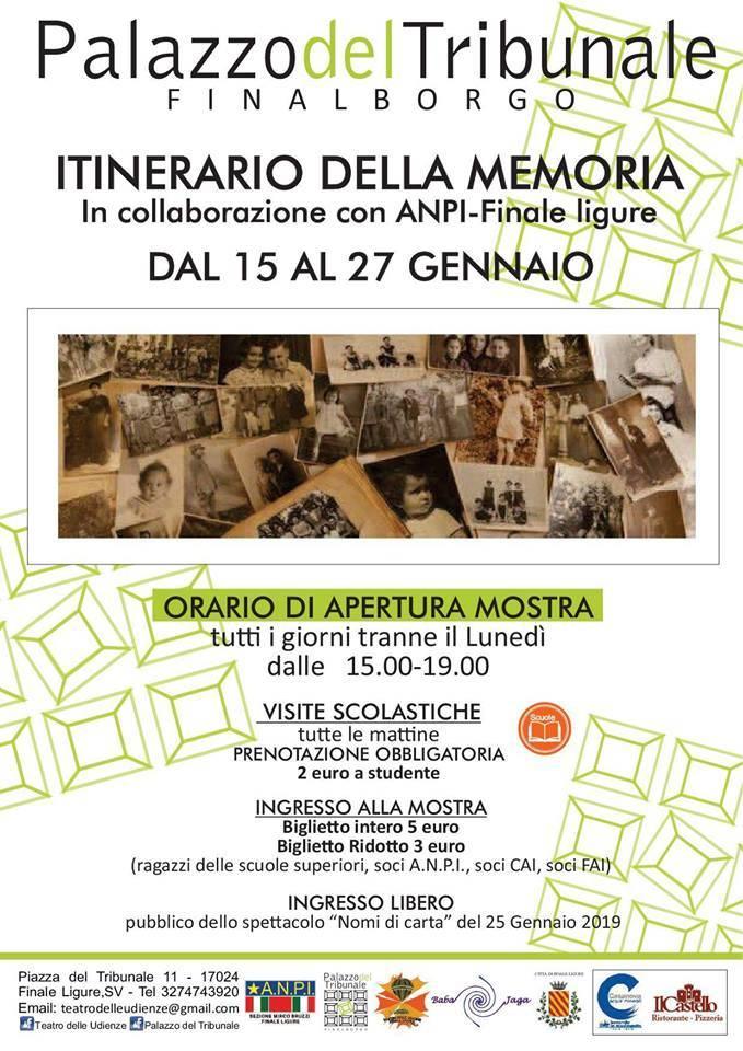 """""""Itinerario della Memoria"""" mostra Palazzo del Tribunale Finale Ligure"""