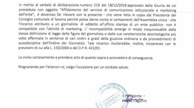 Lettera Giornalisti Ufficio Stampa Savona