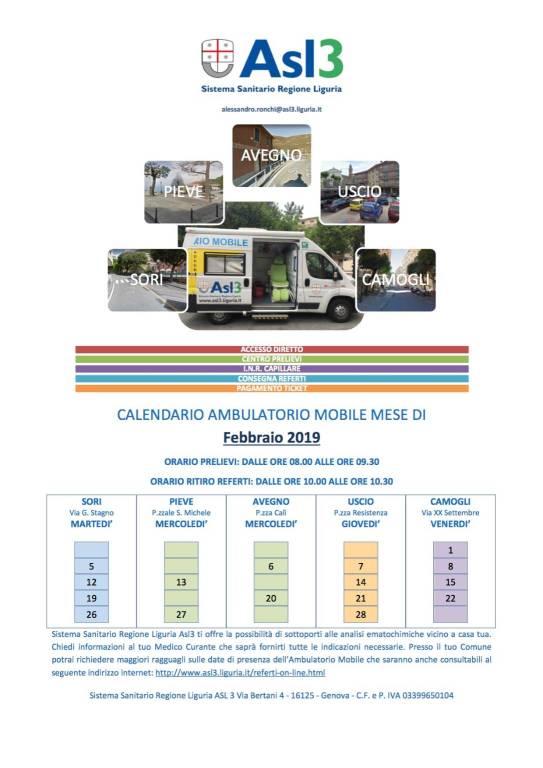 ambulatorio mobile asl3 febbraio