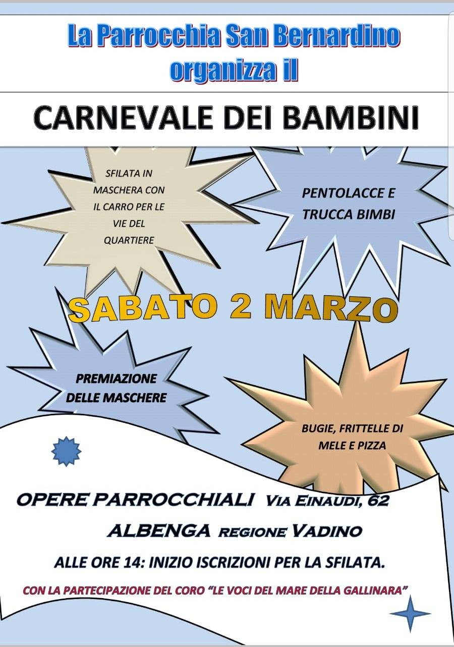 Carnevale dei Bambini San Bernardino Albenga 2019